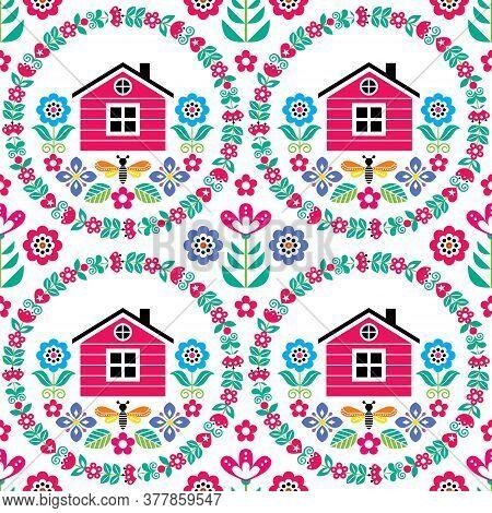 Scandinavian Folk Art Seamless Vector Floral Mandala Pattern With Finnish Or Norwegian House, Retro