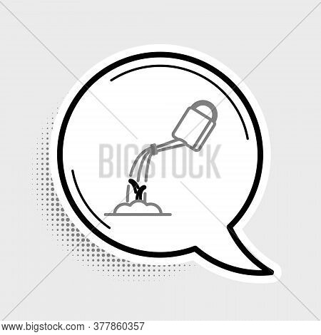 Line Watering Can With Water Icon Isolated On Grey Background. Watering A Sprout. Irrigation Symbol.