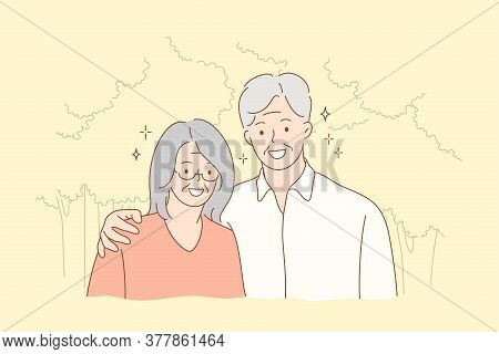 Couple, Relationship, Embrace, Love Concept. Old Man Grandfather And Woman Grandmother Granny Senior