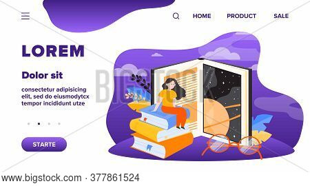 Tiny Woman Sitting On Huge Book Flat Vector Illustration. Big Book Door To Knowledge, New World And