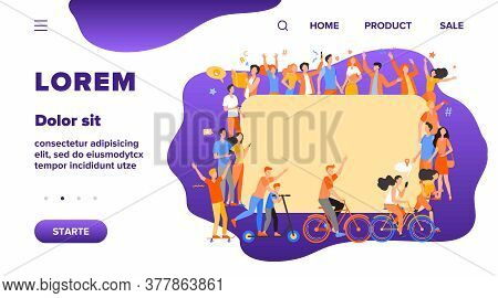 Different Multicultural People In Crowd Flat Vector Illustration. Cartoon Characters In Social Commu
