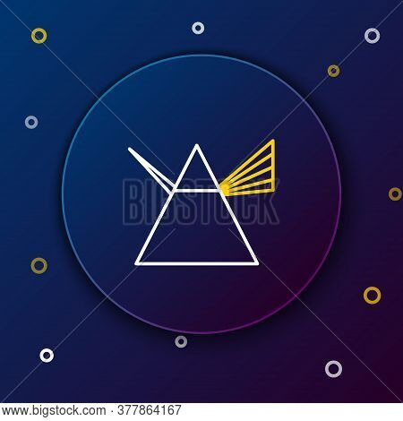 Line Light Rays In Prism Icon Isolated On Blue Background. Ray Rainbow Spectrum Dispersion Optical E