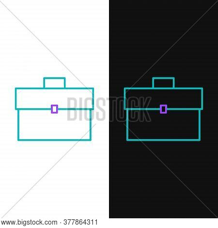 Line Briefcase Icon Isolated On White And Black Background. Business Case Sign. Business Portfolio.