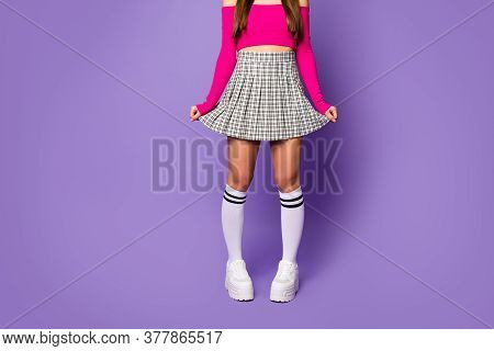 Cropped Photo Of Lady Showing Cool Stylish Clothes Outfit Fit Slim Legs Wear Pink Off-shoulders Crop