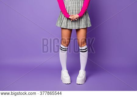 Cropped Photo Of Lady Cool Stylish Clothes Outfit Fit Slim Legs Wear Pink Cropped Top Short Plaid Sk