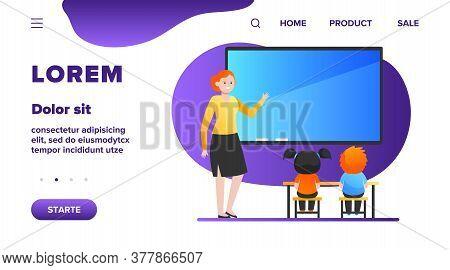 Female Teacher Explaining Lesson For Kids. School, Children, Study Flat Vector Illustration. Educati