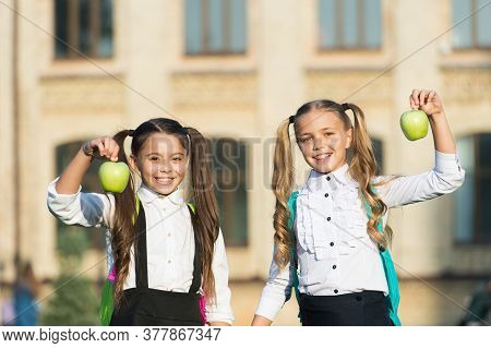 Nutrition For Healthy Teeth. Happy Kids Smile With Apples. Dental Diet. School Snack. Dental Health.