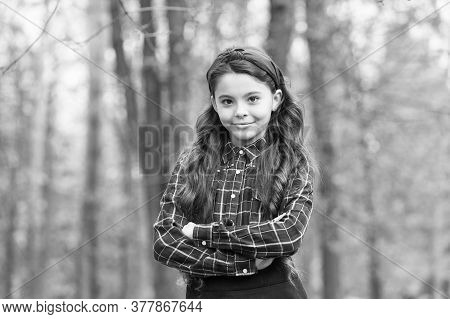 Fashion Trend. Accessories. Fancy Child Nature Background. Padded Headband. Smiling Girl Wear Knotte