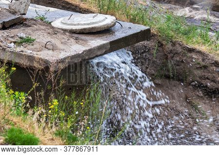 Accident Sewerage System. Water Supply Failure. Breakthrough Of The Water Supply System. A Fountain