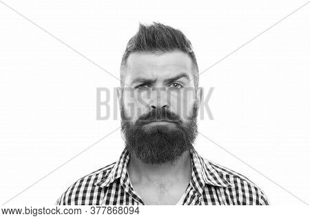 Mustache Works In City. Trendsetter Hipster With Mustache Isolated On White. Mustachioed And Bearded