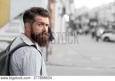 When My Beard Is Long I Go To Barbershop. Hipster Urban Outdoors. Bearded Man In Casual Style. Barbe