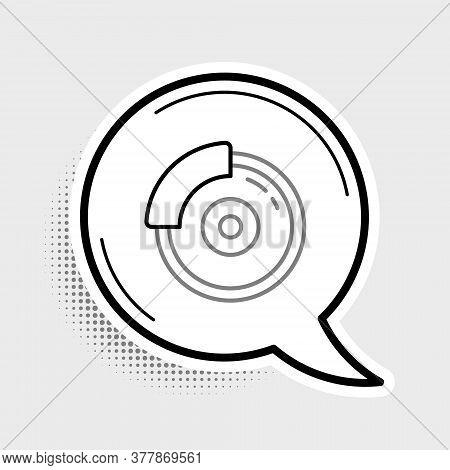 Line Car Brake Disk With Caliper Icon Isolated On Grey Background. Colorful Outline Concept. Vector