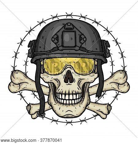 Soldier Skull. Skull In Black Helmet. T-shirt Print Concept. Vector Illustration.