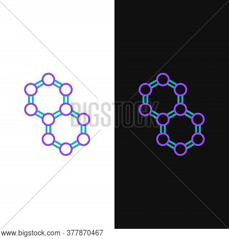 Line Molecule Icon Isolated On White And Black Background. Structure Of Molecules In Chemistry, Scie