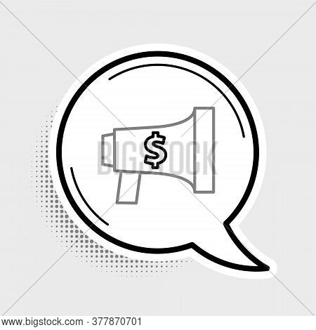 Line Megaphone And Dollar Icon Isolated On Grey Background. Loud Speach Alert Concept. Bullhorn For