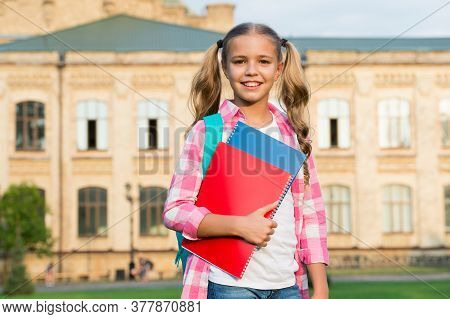 Little Smart Student. Happy Preschool Girl With Folder In School Yard. Back To School. Hardworking C