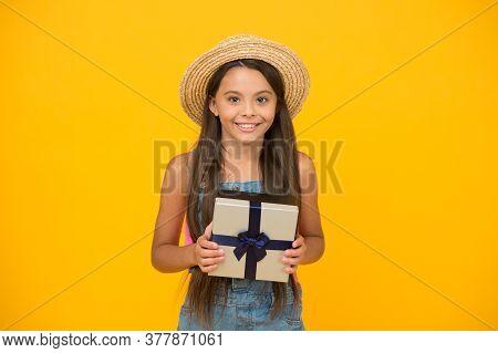Gift Anywhere Anytime. Happy Child Hold Gift Box. Happy Birthday. Celebrating Anniversary. Holiday C