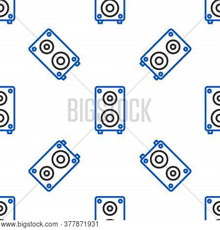 Line Stereo Speaker Icon Isolated Seamless Pattern On White Background. Sound System Speakers. Music