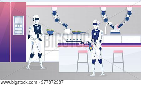 Two Home Robots Work In A Modern Kitchen. Futuristic Concept With Humanoid Robot Assistants. Multita