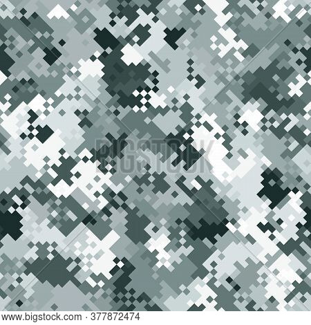 Seamless Digital Tundra Pixel Camo Texture Vector For Army Textile Print