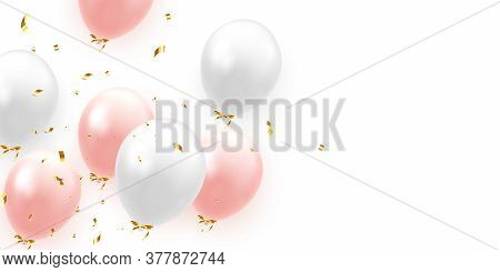 Background With Festive Realistic Balloons With Ribbon. Color Pink And White, Studded With Gold Spar