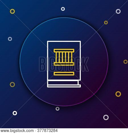 Line Law Book Icon Isolated On Blue Background. Legal Judge Book. Judgment Concept. Colorful Outline