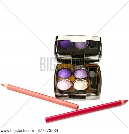 Decorative Cosmetic Products For Makeup Isolated On White. Pencil, Eyeshadow, Palette, Strokes, Crus