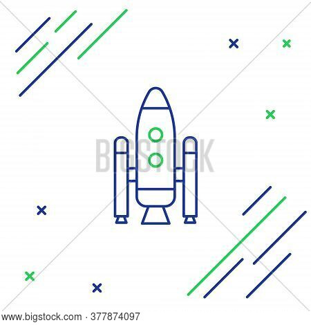 Line Space Shuttle And Rockets Icon Isolated On White Background. Colorful Outline Concept. Vector