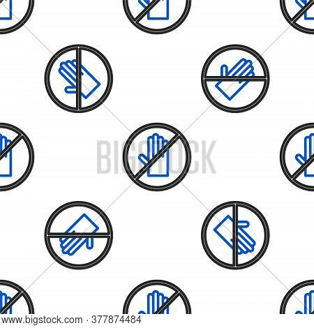 Line No Handshake Icon Isolated Seamless Pattern On White Background. No Handshake For Virus Prevent