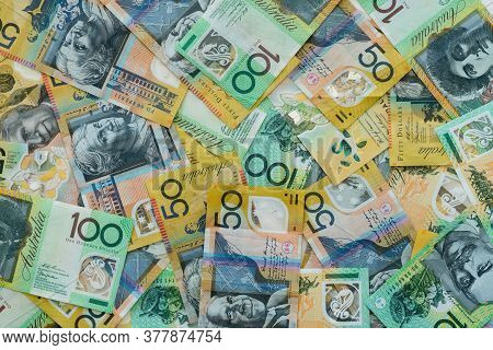 Background Of Australian Currency Fifty And One Hundred Dollar Notes $50 $100