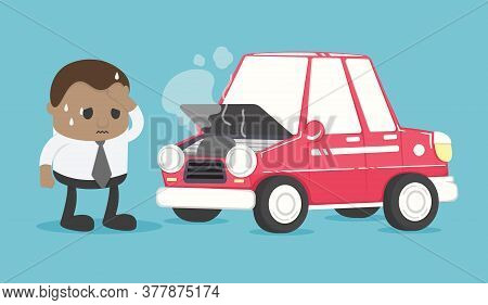 African Businessman Worried About His Car Breakdown