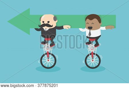 Businessmen And African Businessmen Riding A Bicycle Holding Green Arrow