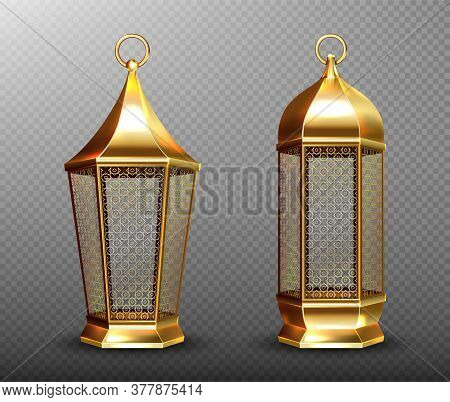 Arabic Lamps, Gold Lanterns With Arab Ornament, Ring, Place For Candle. Accessories For Islamic Rama