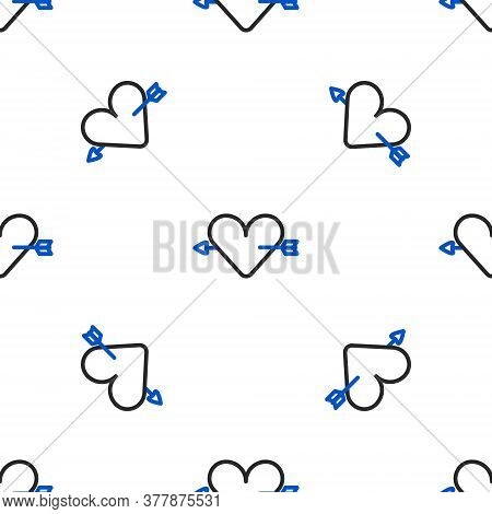 Line Amour Symbol With Heart And Arrow Icon Isolated Seamless Pattern On White Background. Love Sign