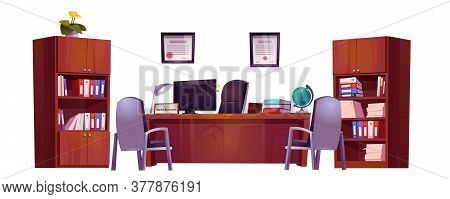 Principals Office In School For Meeting And Talking With Teachers, Pupils And Parents. Vector Cartoo