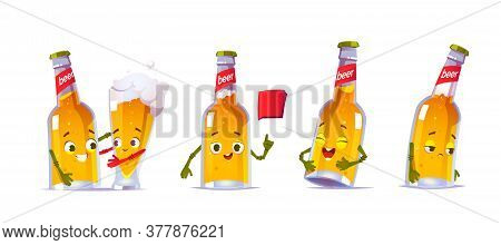 Cute Beer Bottle Character In Different Poses. Vector Set Of Cartoon Funny Mascot, Lager Pint Person