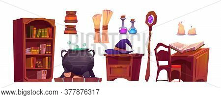 Magic School Interior With Open Book Of Spell, Paper Scroll, Staff And Cauldron With Potion. Vector