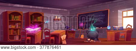 Magic School, Classroom Interior With Wooden Desks For Pupils And Teacher, Blackboard With Chalk Wri
