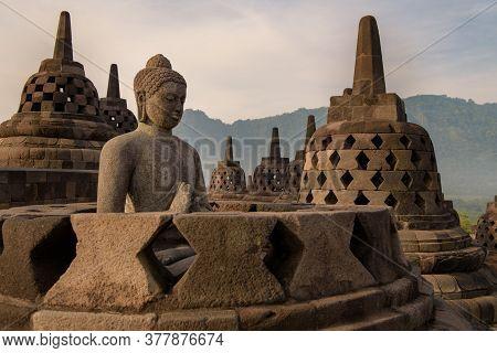 Yogyakarta, Java, Indonesia: Nov 15, 2017: Borobudur Temple At Daytime, Yogyakarta, Java, Indonesia.