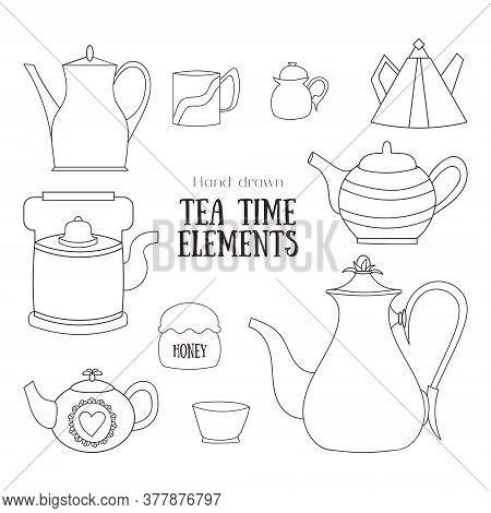 Tea Time Ceremony Set. Hand Drawn Elements. Tea Pots, Cups, Mug, Honey. For Card, Invitation, Decora