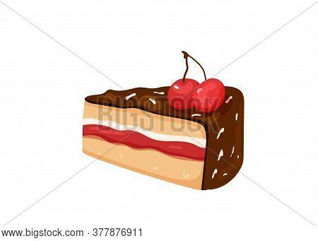 Delicious Yummy Cake With Cherry, Chocolate, Cream Isolated On White Background. I Choose Sweet Posi