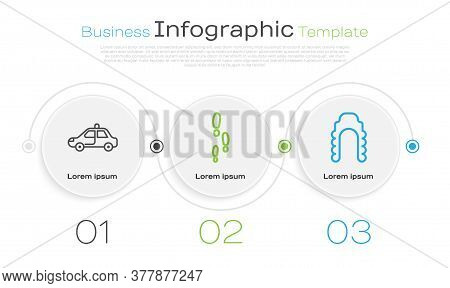 Set Line Police Car And Flasher, Footsteps And Judge Wig. Business Infographic Template. Vector
