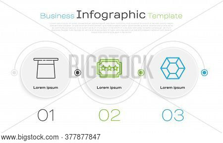 Set Line Magician Hat, Ticket And Magic Stone. Business Infographic Template. Vector