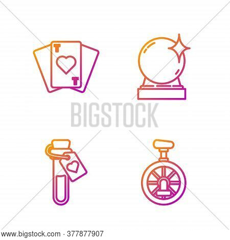 Set Line Unicycle Or One Wheel Bicycle, Bottle With Love Potion, Playing Cards And Magic Ball. Gradi