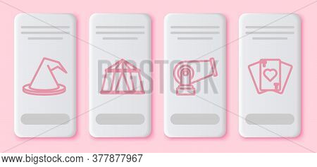Set Line Witch Hat, Circus Tent, Cannon And Playing Cards. White Rectangle Button. Vector
