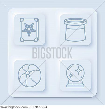 Set Line Ancient Magic Book, Magician Hat, Beach Ball And Magic Ball. White Square Button. Vector