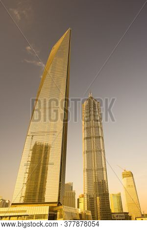Pudong, Shanghai, China, Asia - November 18, 2008: View Of The Swfc, Shanghai World Financial Center