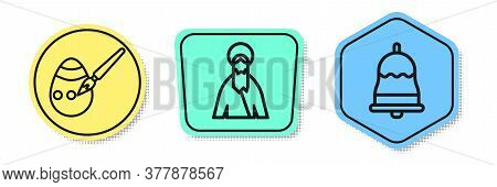 Set Line Easter Egg And Paint Brush, Jesus Christ And Ringing Bell. Colored Shapes. Vector