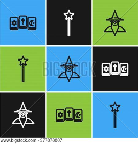 Set Line Three Tarot Cards, Wizard Warlock And Magic Wand Icon. Vector