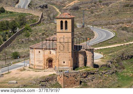 Segovia, Spain - April 24, 2019: Iglesia de la Vera Cruz is a catholic church in Segovia, Spain